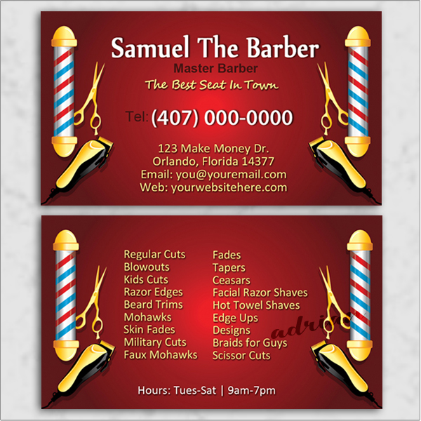 Business card design template for barbers and barbershops.