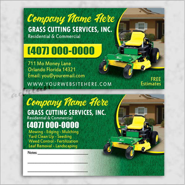 Business card design template for landscaping/lawn care/grass cutting business.