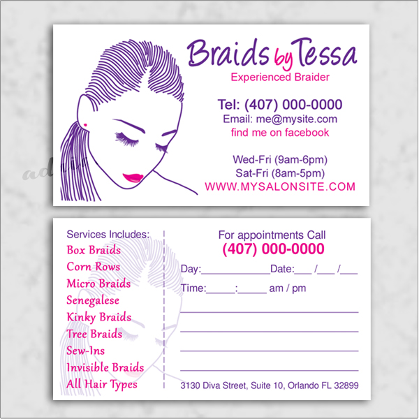 Braider/loctician business cards and template design