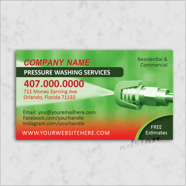 Business card design template for power washing and pressure washing business.