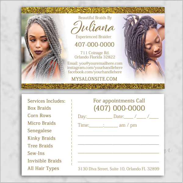 Loctician/braider Business Card Template Design.