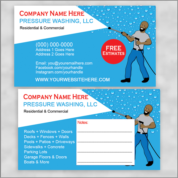 Pressure/Power Washing Business Cards