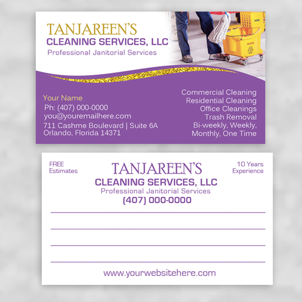 Business card design template for janitorial, custodial and cleaning services
